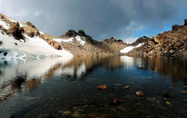 A natural lake on the top of Sabalan Peak. Ardebil-Iran