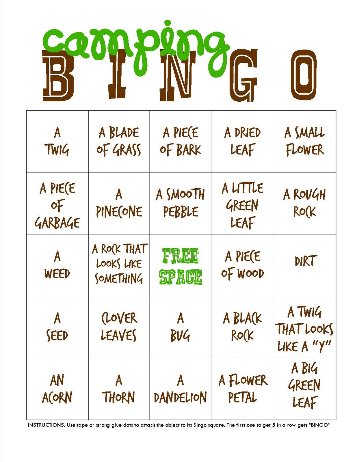 These Are The Same Bingo Cards With Different Titles So You Can Choose What Want To Use Which Ever Adventure Camping