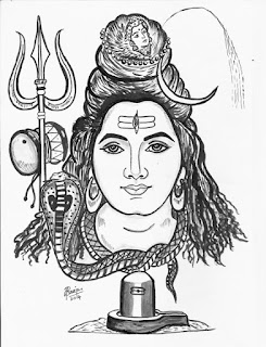 Poster colour Painting of Lord Shiva by Sreeja Renganath
