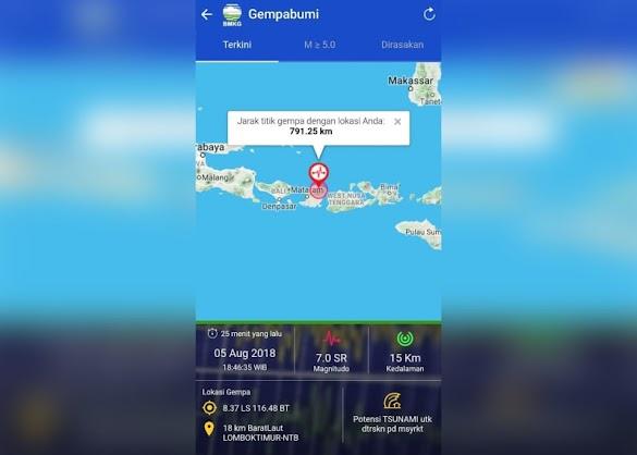 Gempa 7,0 Skala Richter Guncang Lombok, BMKG Informasikan Peringatan Dini Tsunami