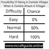 Possibility Of Being Zombie Villager In Minecraft