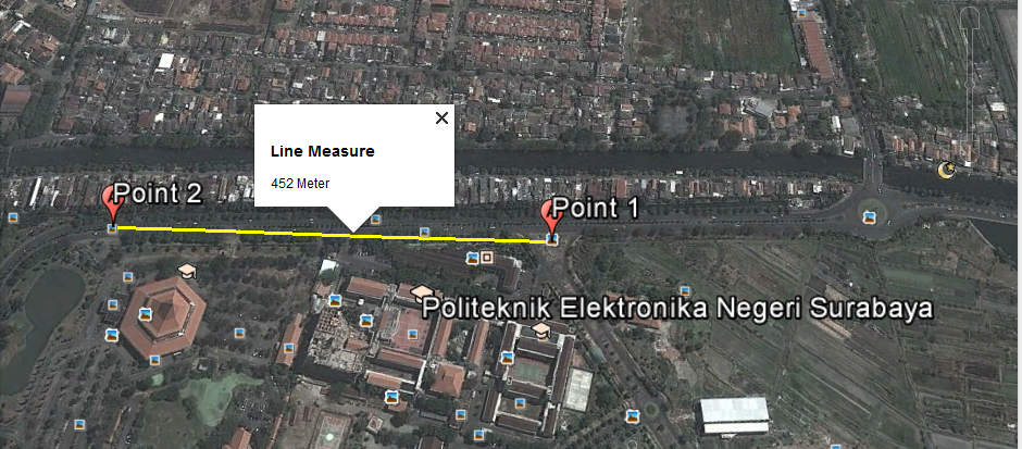 Measure the distance on google map using euclidean and