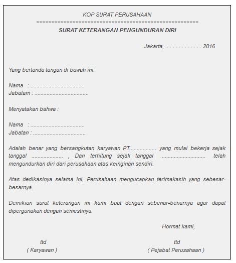 Sampel Surat Pengunduran Diri Resign Kerja Utk Ambil Jht Bpjs