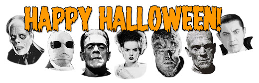 Happy Halloween banner with the Universal monsters