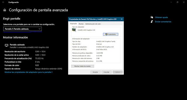 Configuración de pantalla avanzada Windows 10