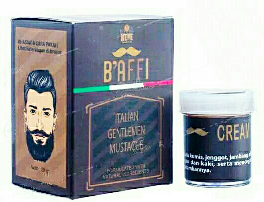 Jual Cream Baffi Mustache & Beard Penumbuh Rambut Kumis Alis Jambang dan Jenggot di Surabaya