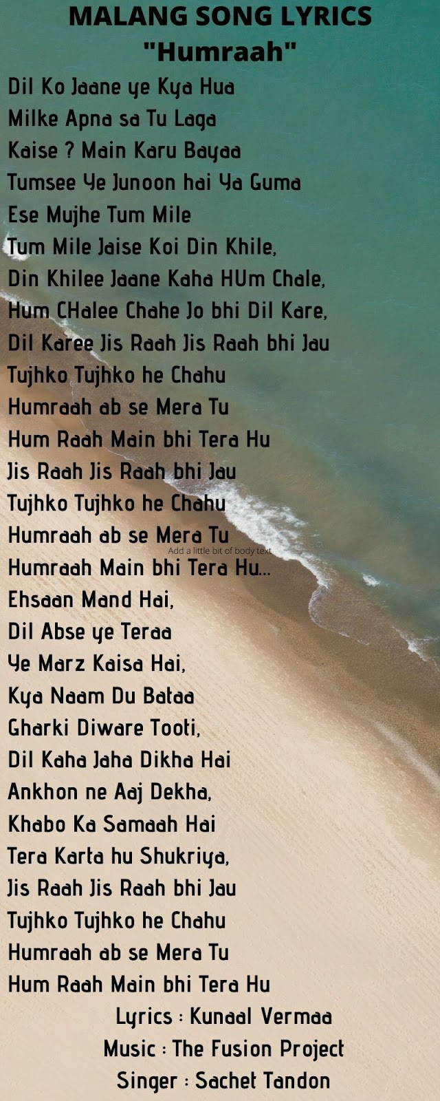 Malang Bollywood Film Songs Lyrics Rise And Shine