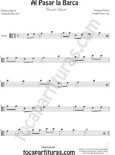 Viola Partitura de  Al Pasar la Barca Canción infantil Sheet Music for Viola Music Score