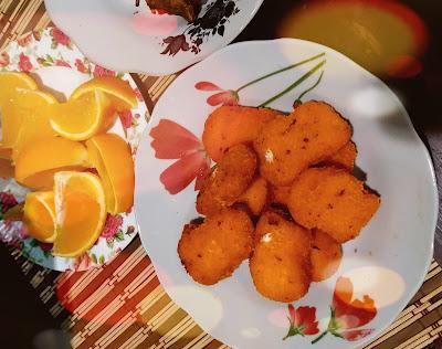 Hidangan Ringkas Buah Oren Dan Nugget Ayam Untuk Si Bujang