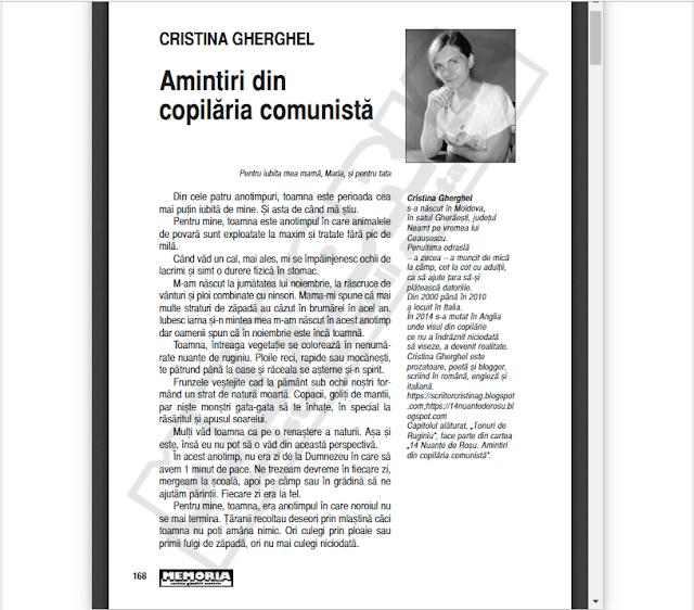 Revista Memoria: Amintiri din copilaria comunista de Cristina G. Gherghel