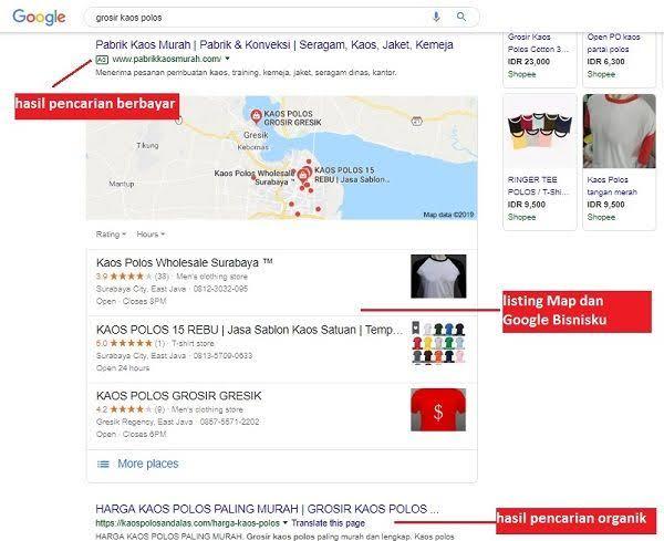 Contoh hasil pencarial lokal, Google Bisnisku di halaman pertama