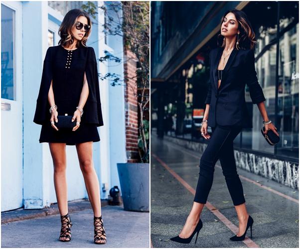 Os Melhores Looks para Usar no Natal tudo preto vestido terninho