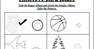 Math Worksheets For Kindergarten: Concepts: Big and Small ...