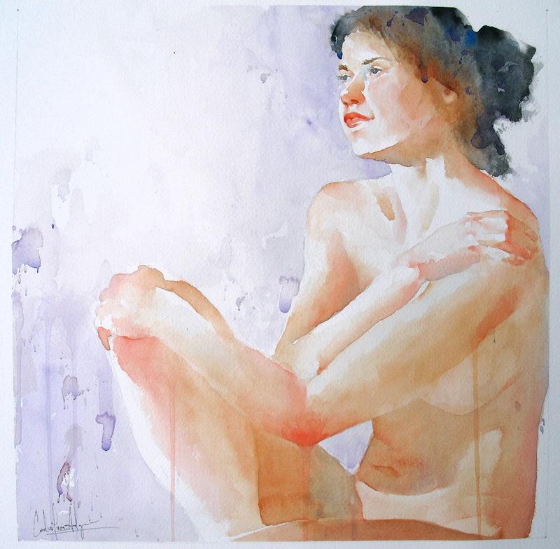 Erotic Watercolor Painting Nude Painting Erotic Art Erotic