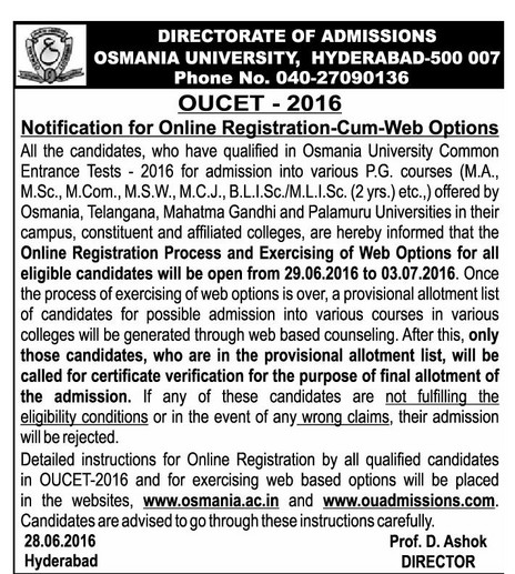 OUCET counselling dates 2017 ou pgcet certificate verification web options details