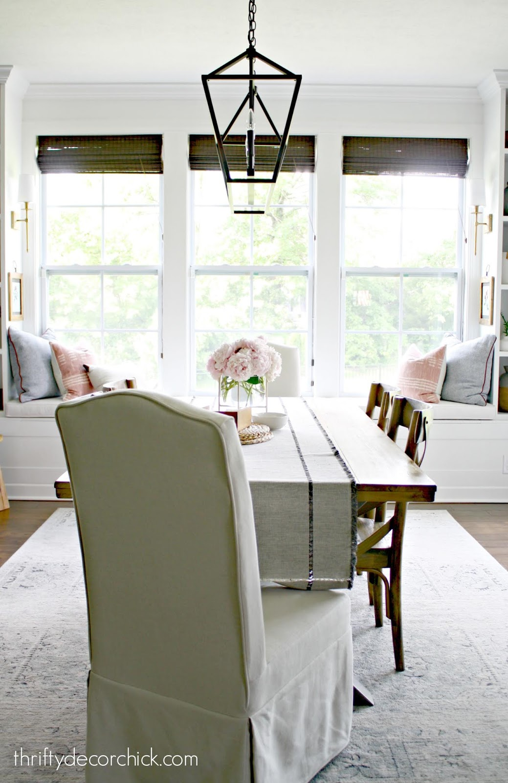 Wood table white window seat