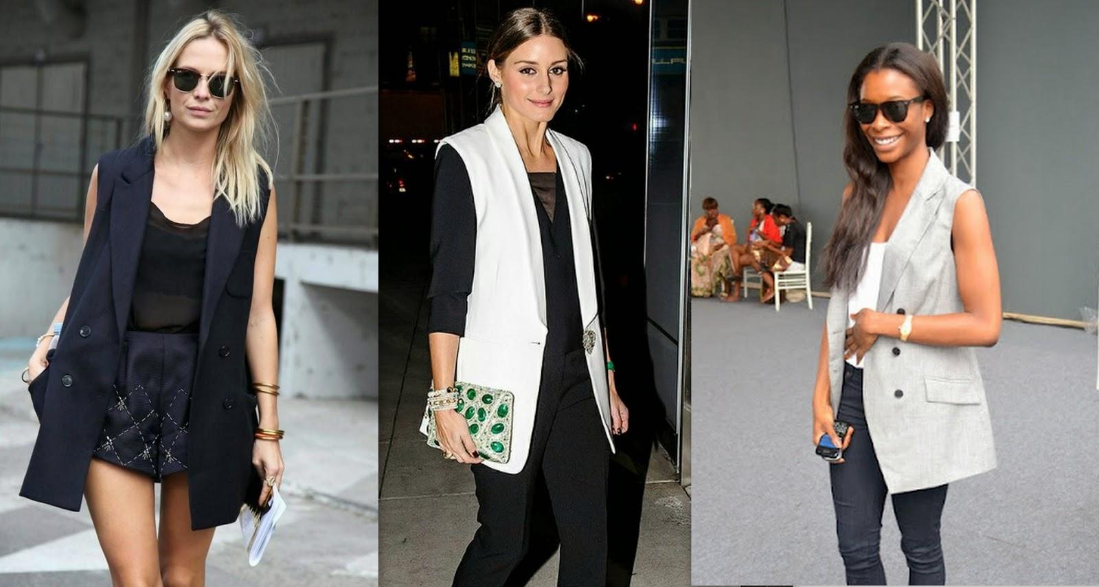 trend, black grey white tan sleeveless blazer, blazer vest