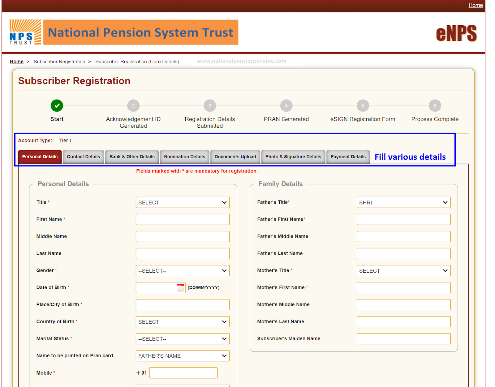 Screenshot of eNPS online application form on NSDL portal