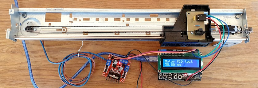 The full sliding unit interfaced to Arduino