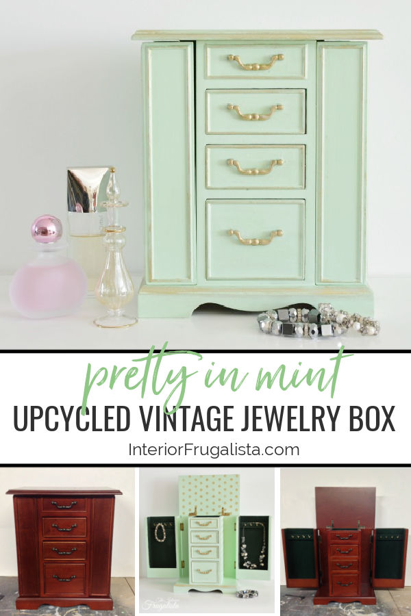 An upcycled thrift store vintage armoire jewelry box painted a pretty mint custom chalk-style paint color with gold accents and fun polka dots inside. #mintjewelrybox #jewelryboxmakeover #upcycledjewelryarmoire