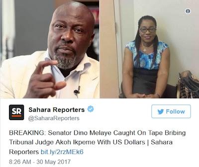 BREAKING NEWS: Senator Dino Melaye Caught on Tape Bribing Tribunal Judge with US Dollars (Watch/Listen)