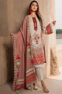 Warda Printed linen shirt dupatta & suit off white color winter unstitched