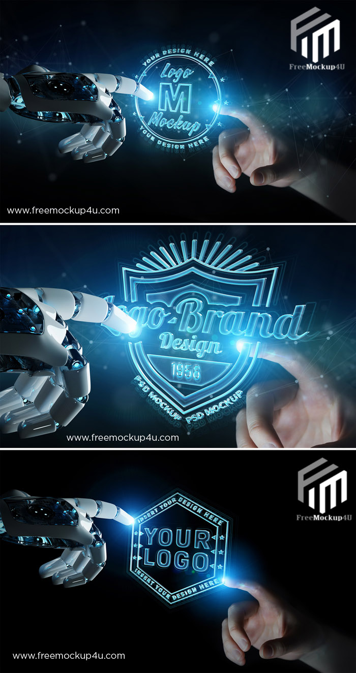 Futuristic Logo Mockup with Robot and Human Hands