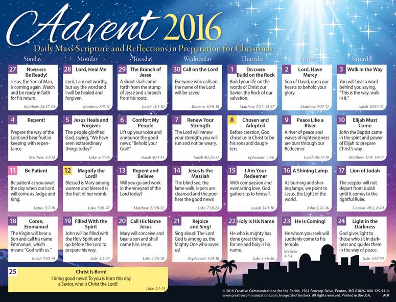 Advent Calendars 2016 : Articles for heart mind soul november