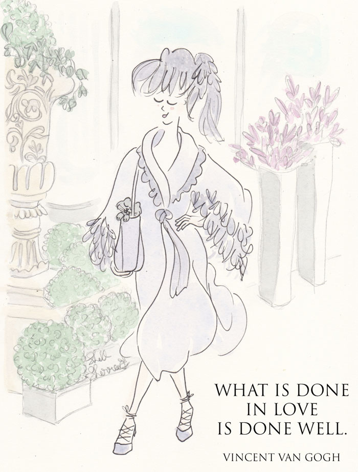 Lilac Feathered Fashion x What is Done in Love quote art illustration © Shell Sherree all rights reserved