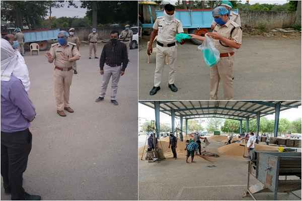 acp-central-teach-social-distancing-to-farmers-ballabharh-anaj-mandi