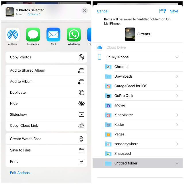Save photos to Files app on iPhone