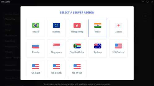 list region yang tersedia di Discord