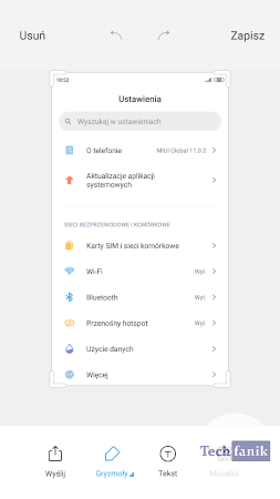 Edytowanie zrzutu ekranu