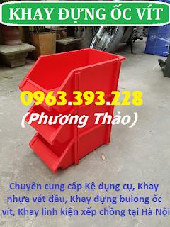 Khay nhựa đựng bulong ốc vít, khay linh kiện xếp chồng giá rẻ tại Hà Nội