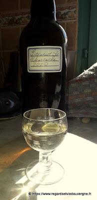 Verre de vin de fleurs bourrache.