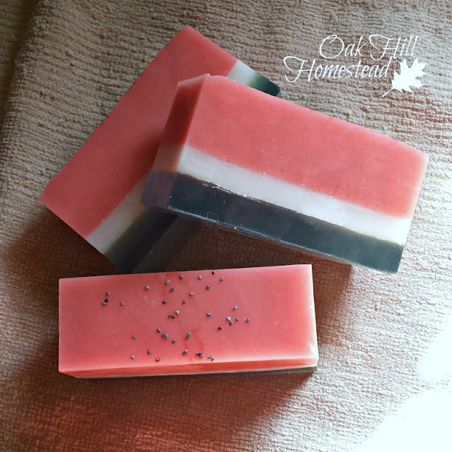 Watermelon scented melt-and-pour soap.