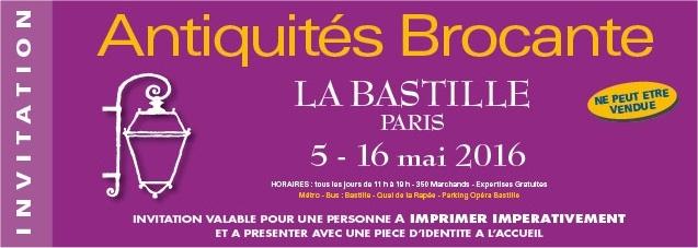 invitation gratuite pour le salon Brocante à Bastille - mai 2016 (specimen)