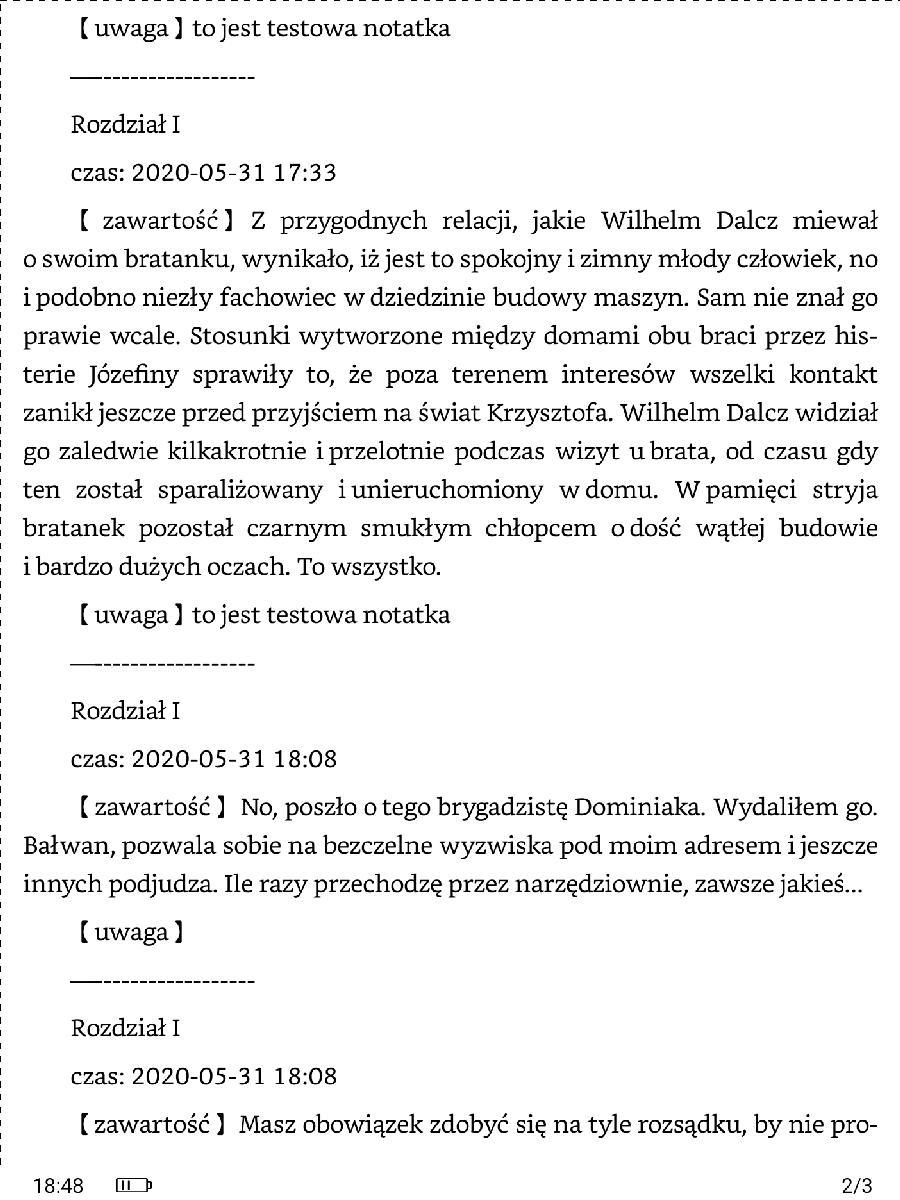 Plik txt z notatkami i zaznaczeniami wyeksportowanymi z aplikacji Neo Reader na Onyx Boox Nova 2