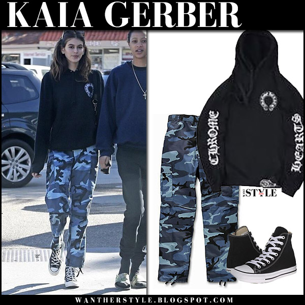 Kaia Gerber in blue camo pants rothco and black hoodie chrome hearts model style november 27