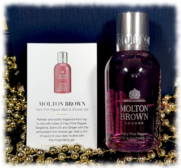 Molton Brown Fiery Pink Pepper Bath & Shower Gel bottle & card