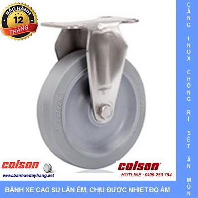 Bánh xe cao su càng inox 304 Colson Mỹ lăn êm không ồn tại Vĩnh Long www.banhxeday.xyz
