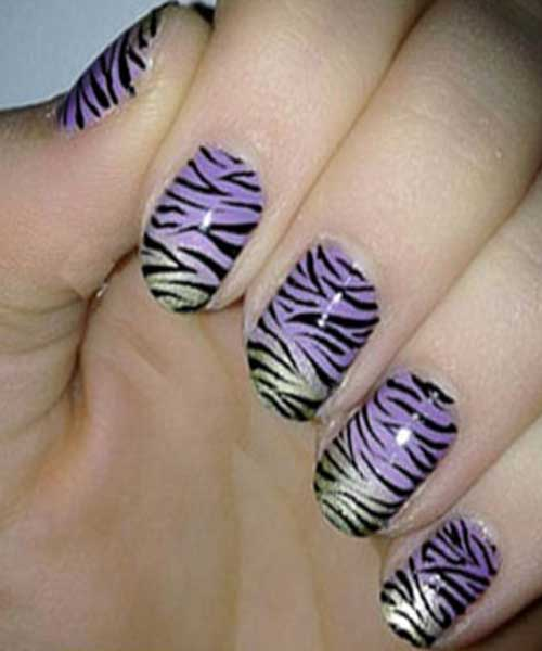 Shiny Zebra Nails