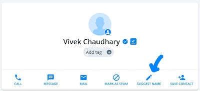 Suggest a new name on Truecaller