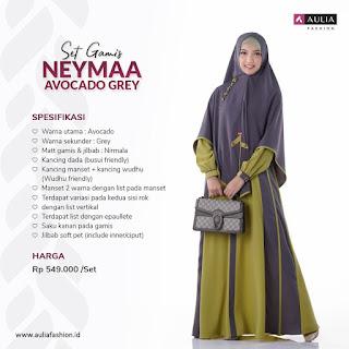 Koleksi Gamis Syari Muslimah Neymaa Avocado Grey Set Syari by AULIA Fashion