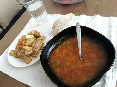 veggies soup and roasted pork with potatoes