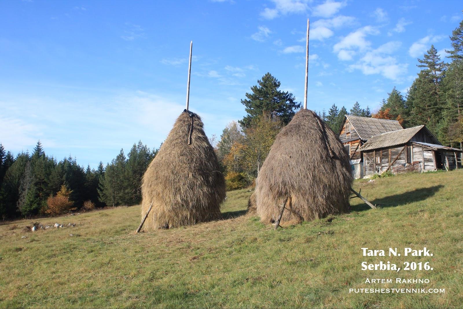Два стога сена и дом в Сербии