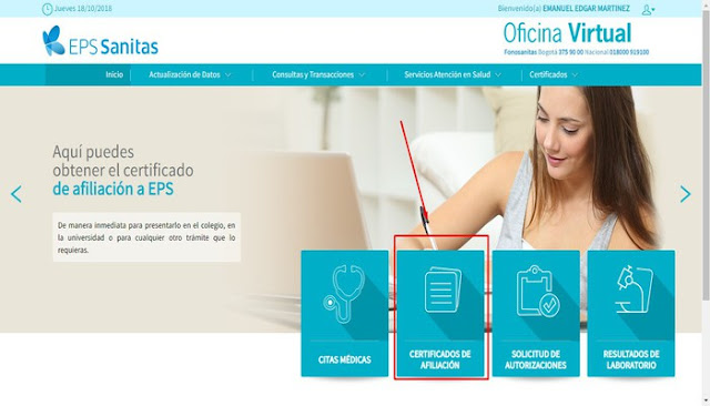 Certificado de Afiliación en EPS Sanitas