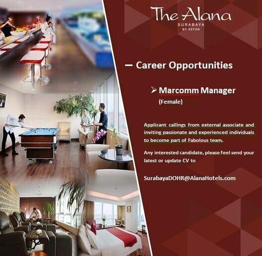 lowongan kerja markom manager the alana surabaya