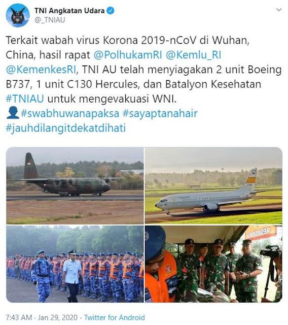 Wabah Virus Corona, TNI AU Kirim 2 Boeing dan 1 Hercules Evakuasi WNI di Wuhan China