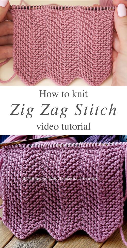 Knit Zig Zag Stitch - Tutorial